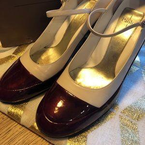 Size 11 Burgundy/Cream Mary Janes